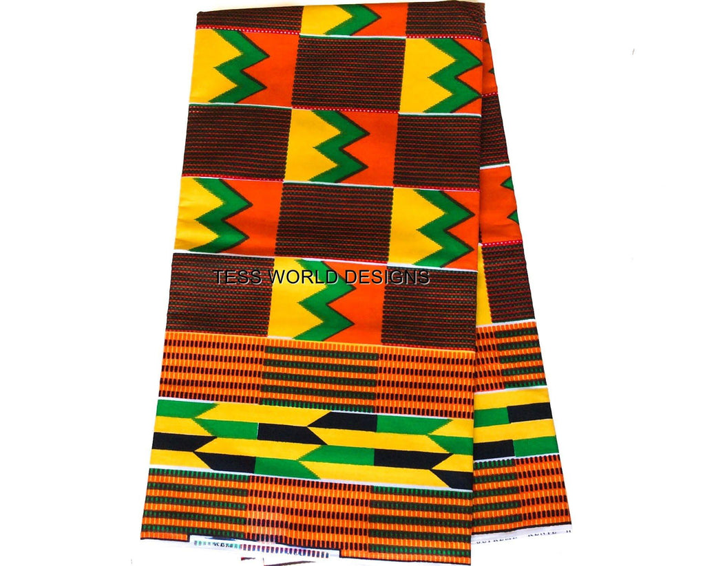 KF182- Yellow, green, red  Kente Fabric, 6 yards - Tess World Designs