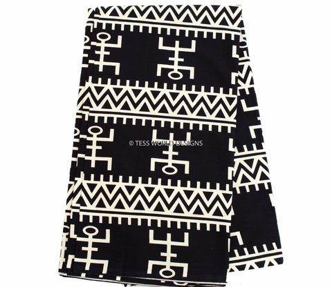WP17- Tribal Print Fabric form Africa , black/cream 6 yards - Tess World Designs