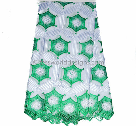 SL132 - Swiss Voile Lace fabric, Green, White 5 yards - Tess World Designs