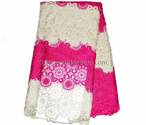 GL24 - Guipure Cord Lace fabric,Pink and Cream 5 yards - Tess World Designs