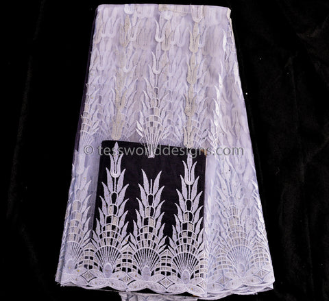 NL16 - Wedding net Lace fabric, White and metallic silver 5 yards - Tess World Designs
