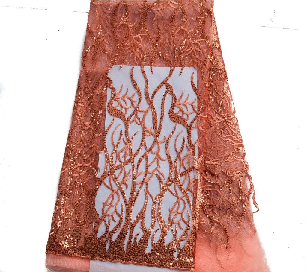 NL06 - Coral Tulle Wedding Net Lace fabric, with Sequins  5 yards - Tess World Designs  - 2