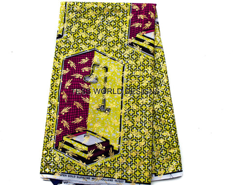 SW33 - African Gold Metallic Fabric-Yellow Shower stall, 6 yards - Tess World Designs  - 1