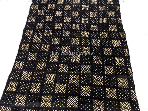 MC78- Authentic Hand woven Mudcloth Fabric,Black and off white - Tess World Designs