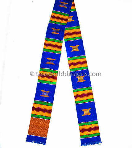 KS01- Hand-Woven Kente Stole, Sash, blue gold and green - Tess World Designs