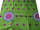 WP670 - African Print Fabric- Long Play flourescent green 6 yards - Tess World Designs  - 2