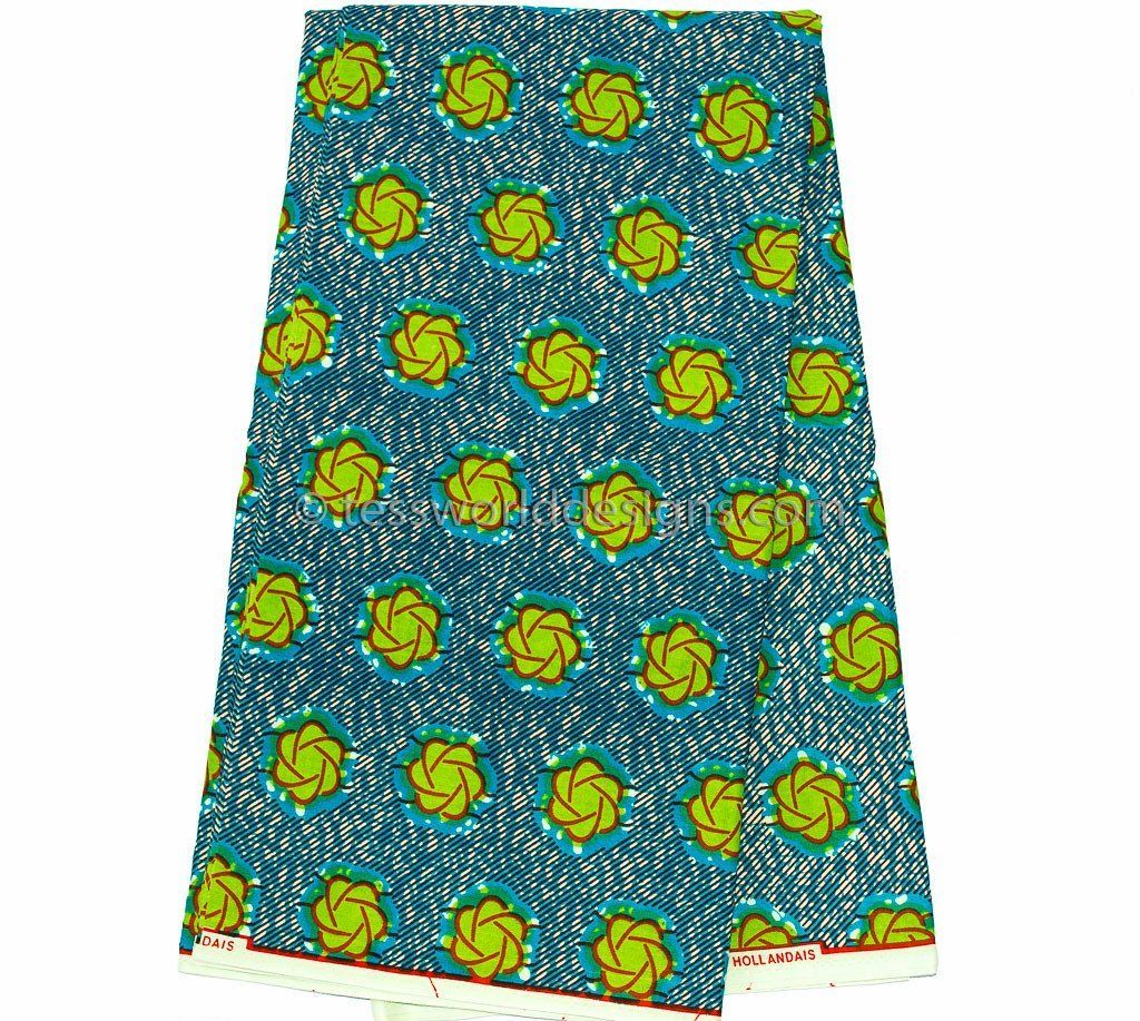 WP679 - African Fabric, Blue/Lime green Dutch wax 6 yards - Tess World Designs