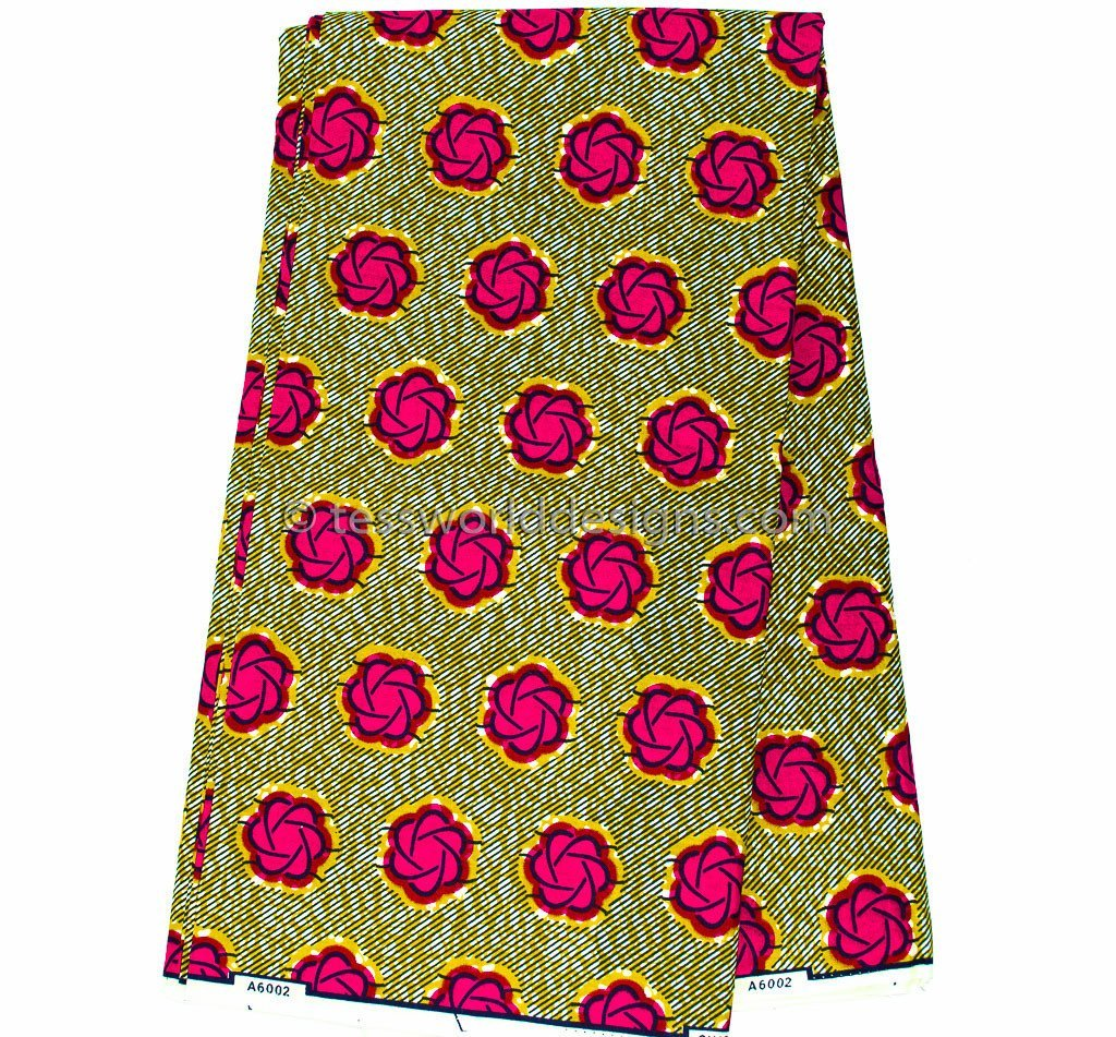 WP677 - African Fabric, Olive and Fuchsia Dutch wax 6 yards - Tess World Designs