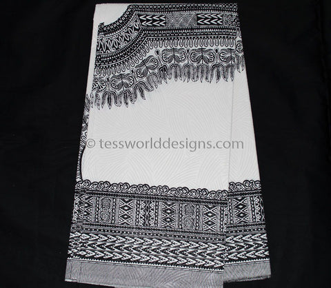 DS19 - White, Black  Dashiki Fabric, Large design , 6 yards - Tess World Designs  - 1