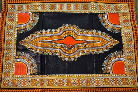 DS80 - Dashiki Fabric, black, small design,  6 yards