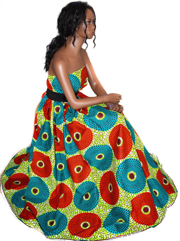 African Fabric sold per yard, red, green WP692B