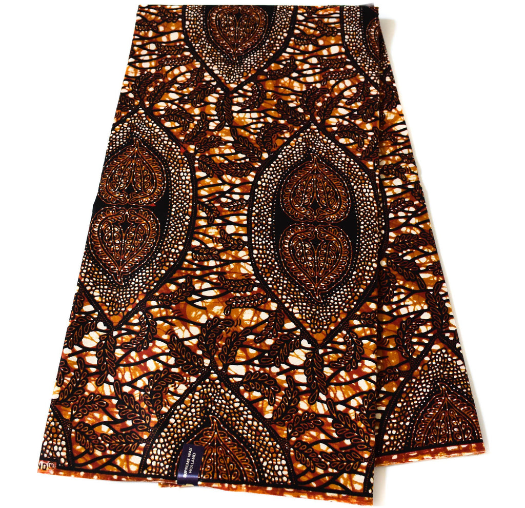 Brown African Fabric 6 yards, Holland -WP1189 - Tess World Designs, LLC