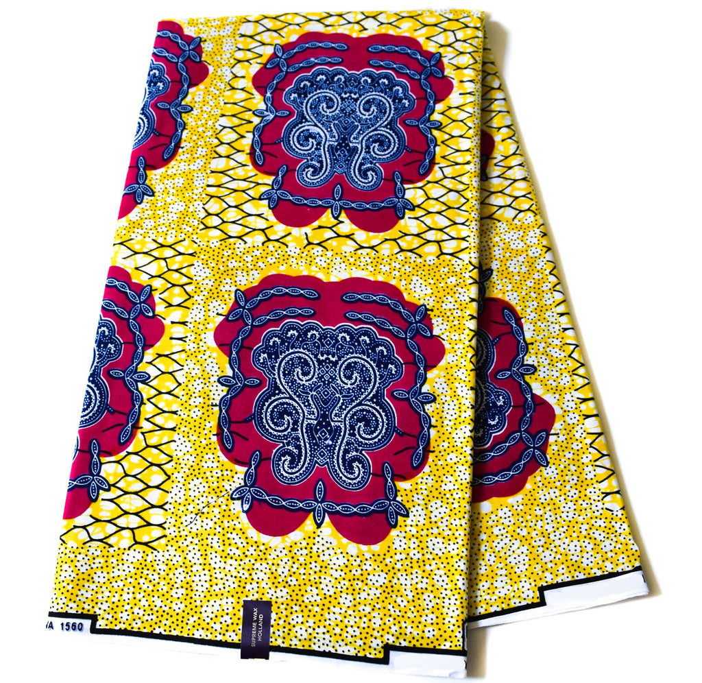 Yellow African Fabric by the yard, Holland -WP1190B