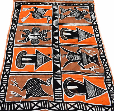 Handcrafted picture Mudcloth fabric from Mali, Orange red  MC214