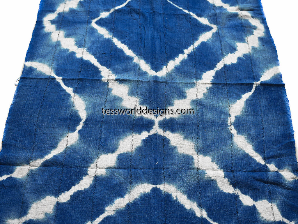 Handcrafted Batik Mudcloth fabric from Mali, Blue  MC210