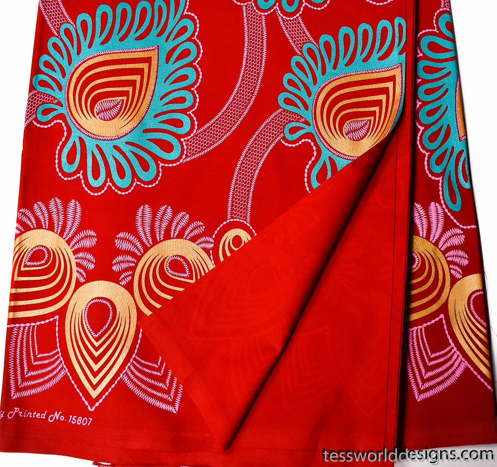 African Fabric, reversible red metallic 6 yards -WP1093 - Tess World Designs, LLC