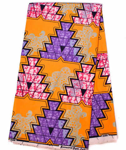 African Fabric by the yard, orange, purple -WP1090