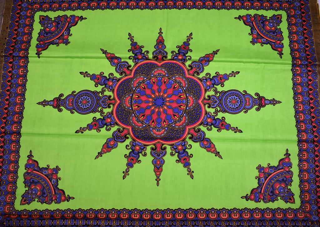Dashiki Fabric small panel, Lime green - Star 6 yards - DS91 - Tess World Designs, LLC
