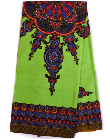 Dashiki by the panel, lime green small design, DS91B
