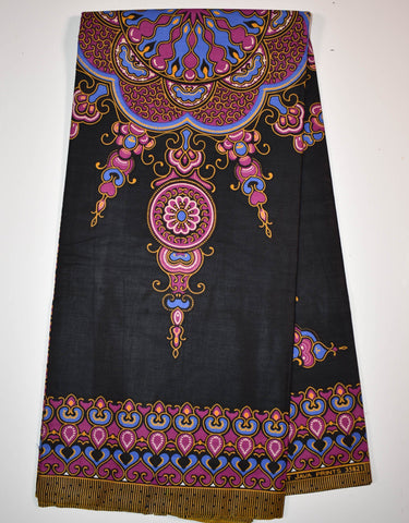 Dashiki by the panel, black small design, DS93B