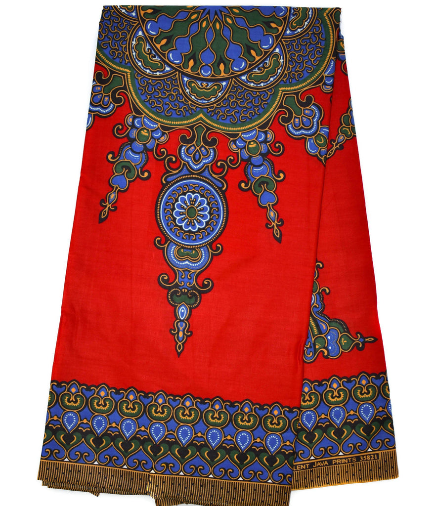 Dashiki by the panel, red small design, DS92B - Tess World Designs, LLC