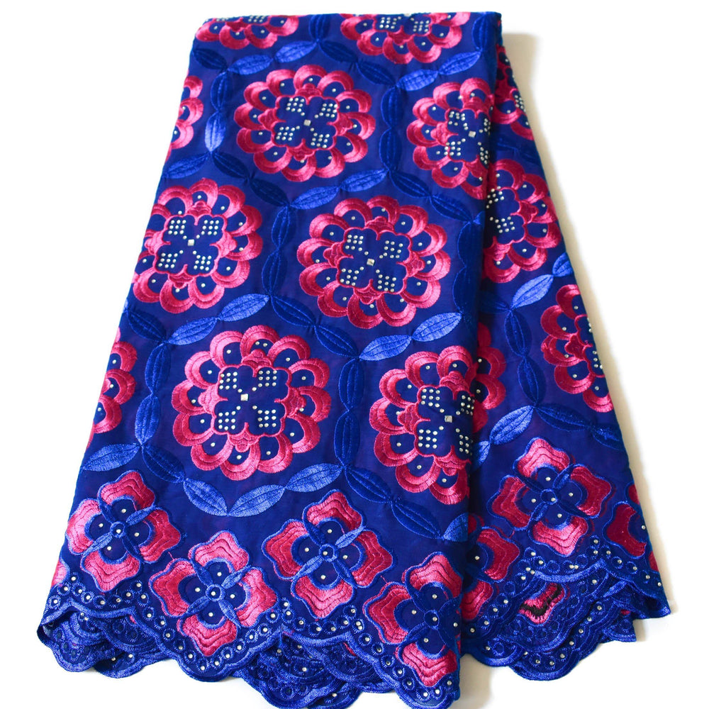 Royal blue/fuchsia Swiss voile Lace, 5 yards SL146