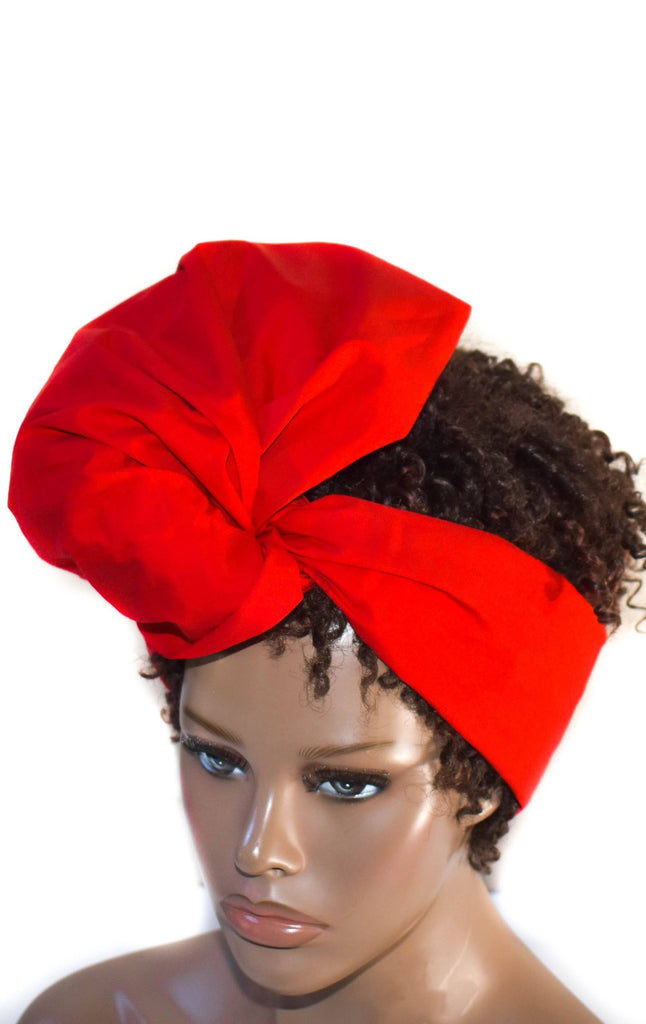 African Head Wraps, Red reversible -HT208 - Tess World Designs, LLC
