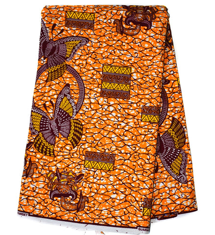 African Fabric by the yard, HiTarget from Ghana, orange butterfly WP1101B