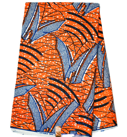 African Fabric by the yard, HiTarget from Ghana, orange chip WP1100B