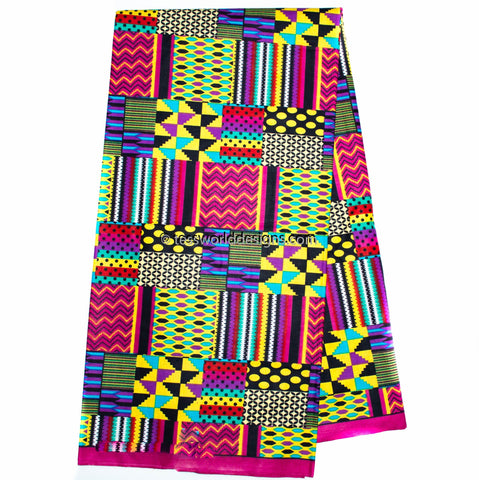 Patchwork Kente Fabric by the yard, ami fuchsia, KF313B
