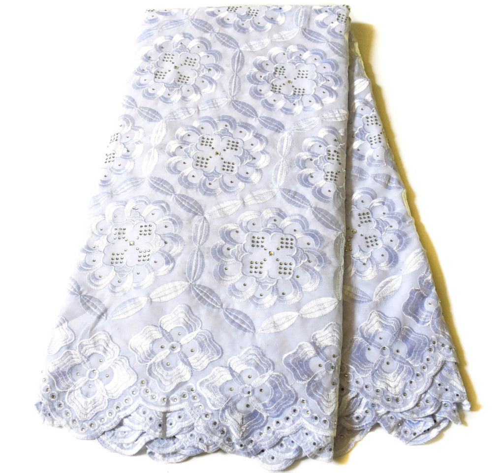 White Swiss voile Lace / Africa lace fabric 5 yards SL145
