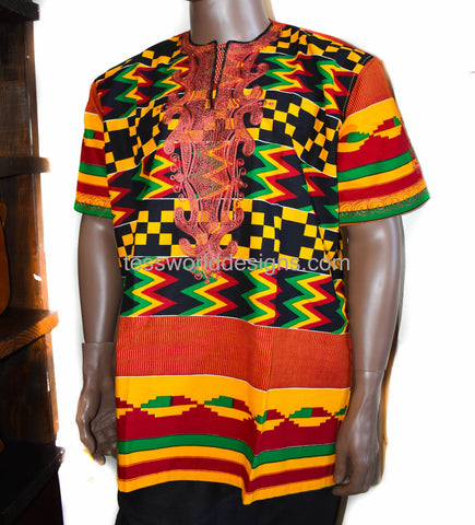 Handmade clothing for men African shirt, 2XL, Yao MW14