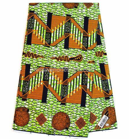 Supreme Wax Holland African fabric, green staircase 6 yards WP1104