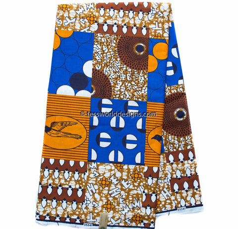 WP1012 -African faux patchwork , Royal blue/brown, 6 yards