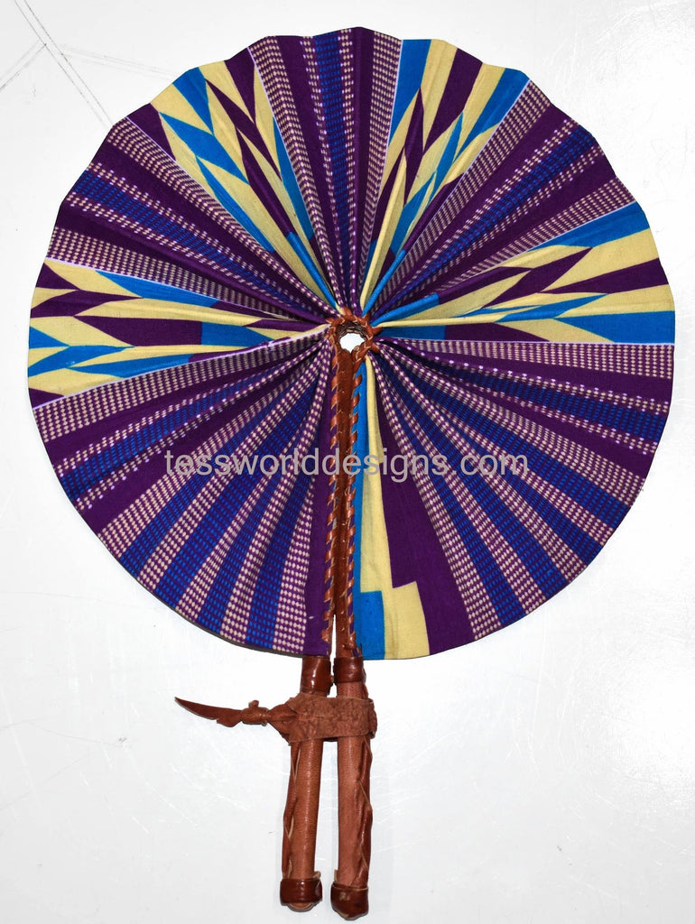 Ankara fabric fan/ Fabric fan/ Made in Africa/ African Fabric fan/ Ankara fan/ Fabric, leather fan/ accessories/ mimi - AC13 - Tess World Designs, LLC