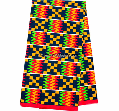 Kente Fabric by the yard, red KF309