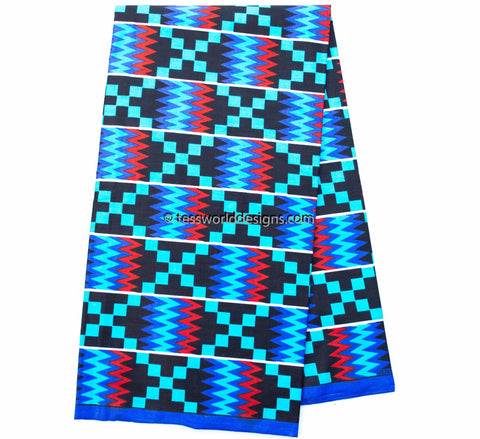 Kente Fabric by the yard, Blue   KF308B