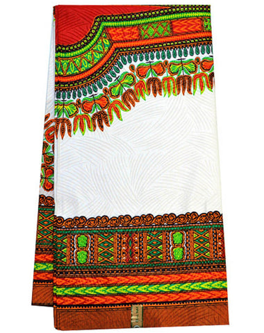 Dashiki Fabric, White/ Red Large design 6 yards- DS96