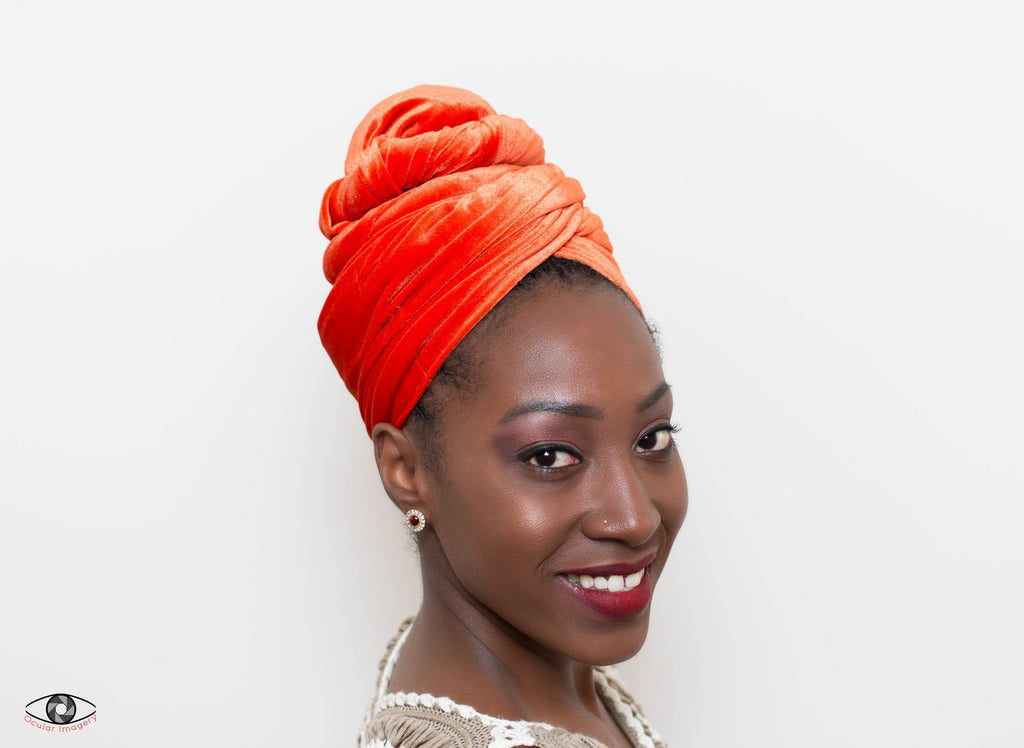 Head wrap, Stretch Velvet tubular, beadless orange HT227