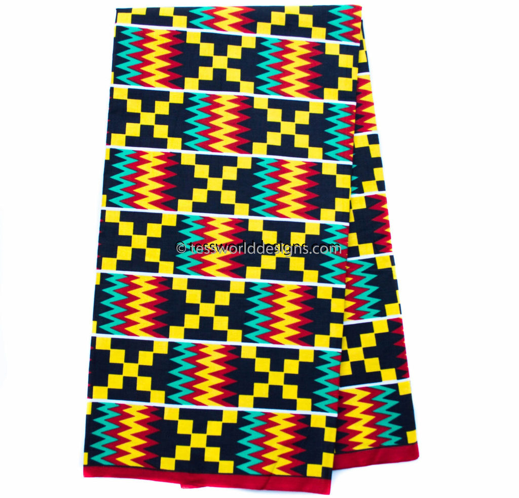Kente Fabric per yard, African fabric/ red/teal -KF310B