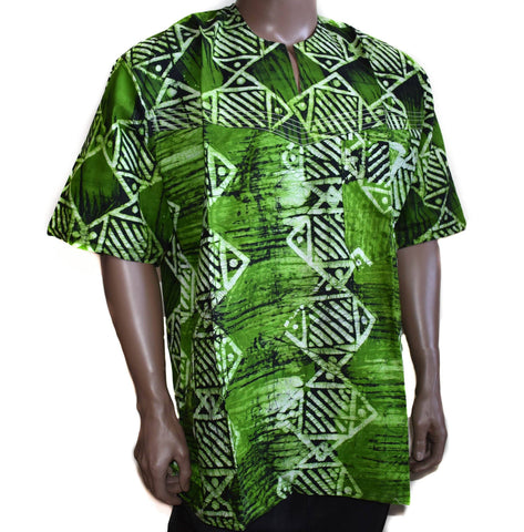 Handcrafted batik mens shirt from Africa, 2XL Malu, MW15