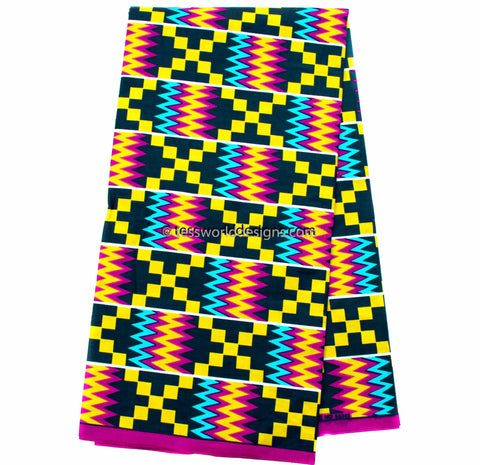 KF312 - Kente Fabric, Fuchsia/blue 6 yards