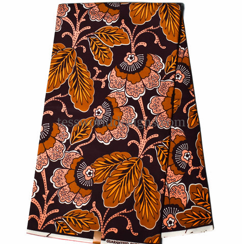 Brown African fabric by the yard -WP1129B