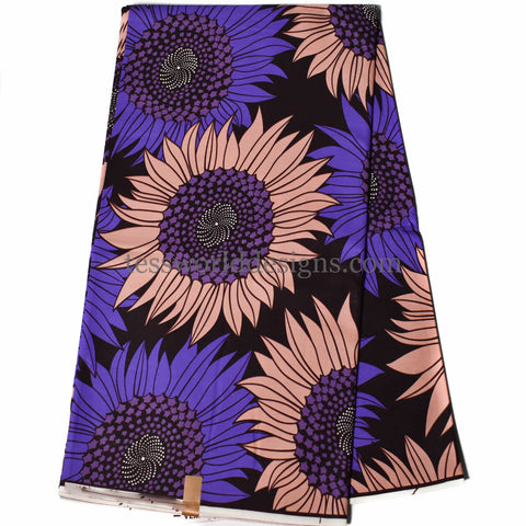 African fabric by the yard, purple sunflower-WP1131B
