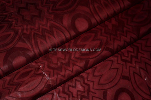 B102 -Crimson Soft quality African Cotton Brocade Bazin 5 yards - Tess World Designs