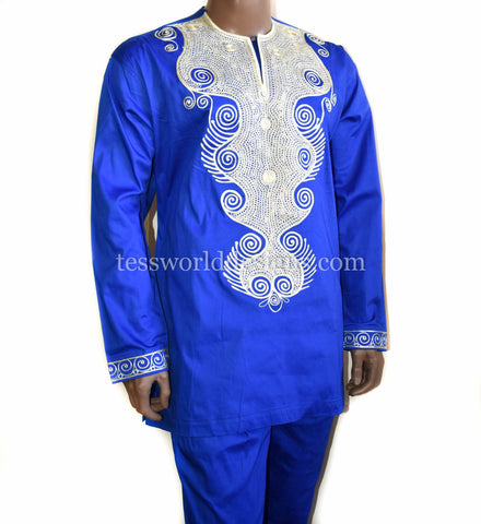 Embroidered blue suit, made in Ghana  MW07