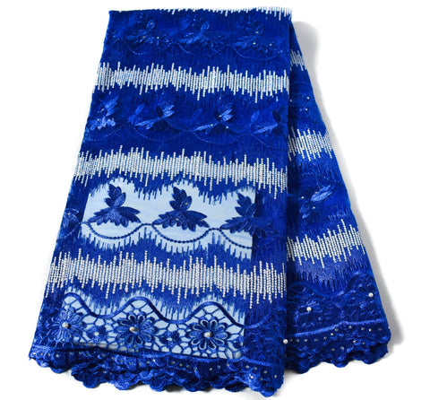 Royal blue African wedding lace/ African lace fabric / French lace/ African lace fabrics/ Net lace fabric/ Nigerian lace/ 5 yards NL58