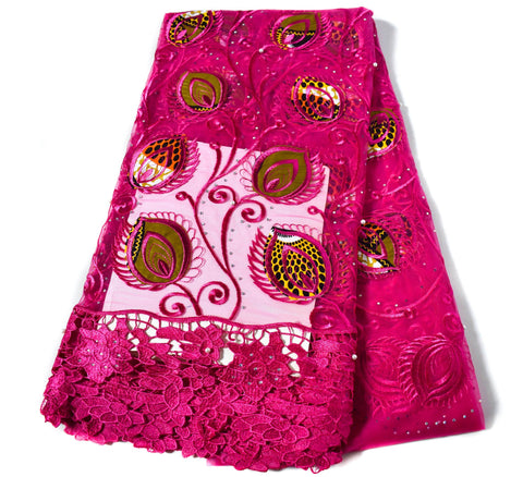 Fuchsia Net lace fabric/ African wedding lace/ African lace fabric / French lace/ African lace fabrics/ Nigerian lace/ 5 yards NL60
