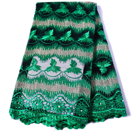 Green African wedding lace/ African lace fabric / French lace/ African lace fabrics/ Net lace fabric/ Nigerian lace/ 5 yards NL57