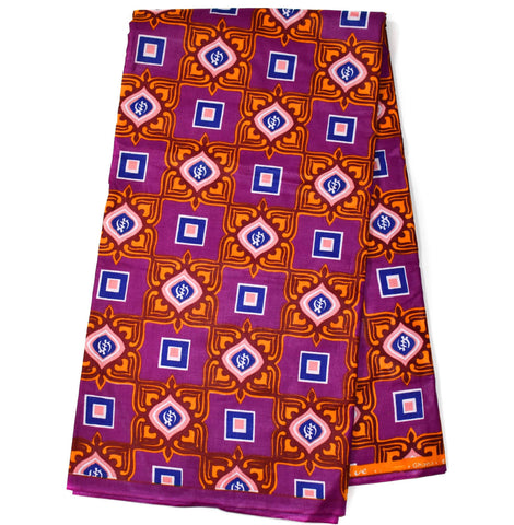 Purple African Fabric, made in Africa, 6 yards WP1142